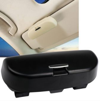 Ikon Motorsports Universal Black Sunglasses Case Storage Sun Visor Clip Holder Mounted Box