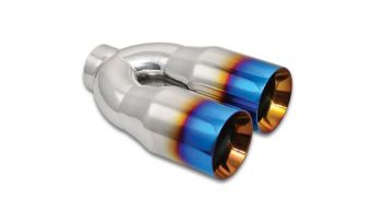 "Vibrant Dual 3.5"" Round Stainless Steel Tips with Burnt Blue Finish"