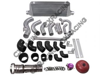 CXRacing Intercooler + Piping Kit + Turbo Intake Air Filter Kit + Radiator Hard Pipe Kit For Subaru BRZ/ Scion FRS with 2JZ-GTE Swap with Single Turbo Upgrade