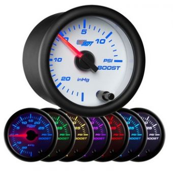 Glowshift White 7 Color 15 PSI Boost/Vacuum Gauge
