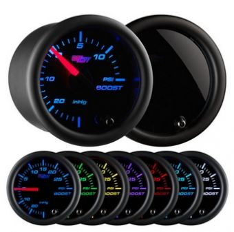 Glowshift Tinted 7 Color 15 PSI Boost/Vacuum Gauge