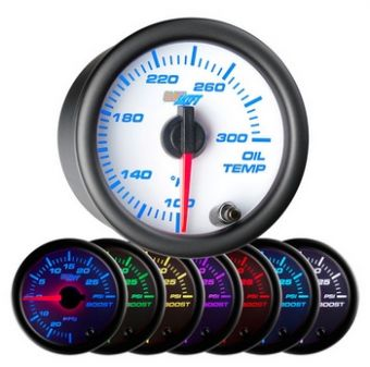 Glowshift White 7 Color Oil Temperature Gauge