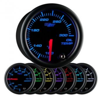 Glowshift Black 7 Color Oil Temperature Gauge