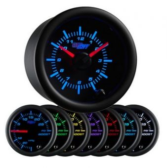 Glowshift Black 7 Color Clock Gauge