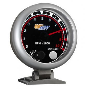 "GlowShift Tinted 3 3/4"" Tachometer w/ Shift Light"