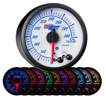 Glowshift White Elite 10 Color Oil Temperature Gauge