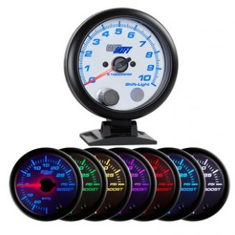 "Glowshift White 7 Color 3 3/4"" Tachometer w/ Shift Light"