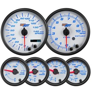 Glowshift White 7 Color Custom Dashboard Gauge Set