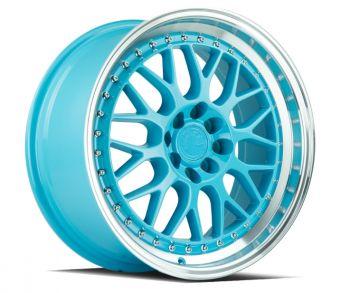 AODHAN WHEELS Tiffany Blue Machined Lip 18x9.5 5x100 - Hub Bore 66.6 Offset 35