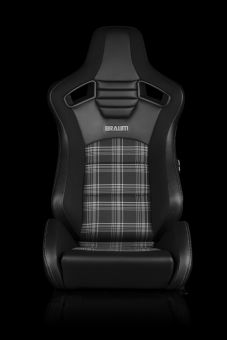 BRAUM ELITE-S SERIES SPORT SEATS - BLACK & GREY PLAID (GREY STITCHING) PAIR Universal