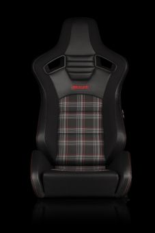 BRAUM ELITE-S SERIES SPORT SEATS - BLACK & RED PLAID (RED STITCHING) PAIR Universal