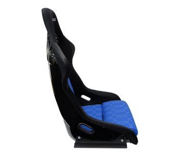 NRG Innovations FRP-300 Large Black Bucket Seat - with BLUE geometric stitching pattern