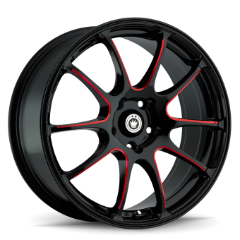 KONIG ILLUSION 18X8 5X100 ET35 Black/Ball Cut Red