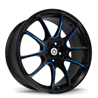 KONIG ILLUSION 17X7 5X100 ET40 Black/Ball Cut Blue