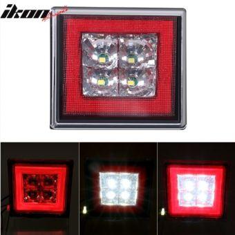 Ikon Motorsports Universal Square Red LED Rear Tail Third 3RD Brake Lights Stop Safety Lamp