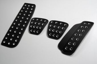 SRP Racing Pedal Set (Black / Silver Grid Pattern) - 2013+ FR-S / BRZ