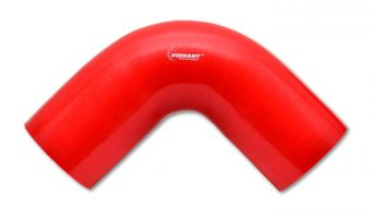 Vibrant 4 Ply Reinforced Silicone Elbow Connector - 4in I.D. - 90 deg. Elbow (RED)