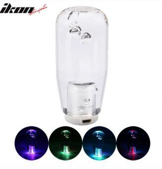 Ikon Motorsports LED RGB Shift Knob 10cm Transparent Bubble Gear Shifter Includes Thread Adapters