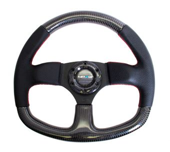 NRG 315MM CARBON FIBER STEERING WHEEL RED STITCHING - UNIVERSAL