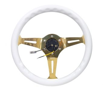 NRG Innovations Classic Wood Grain Wheel - 350mm 3 Chrome Gold Spokes - White Grip