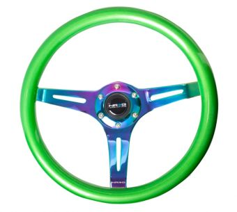 NRG Innovations Wood Grain - 350mm - 3 Neo-Chrome spokes - Green grip