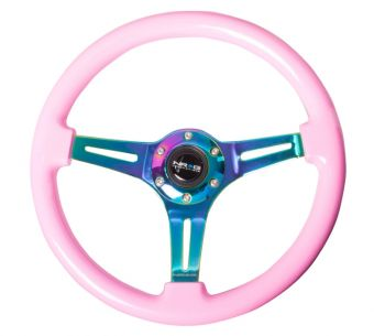 NRG Innovations Wood wheel - 350mm - Neochrome spokes - Pink grip