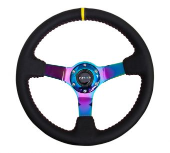 NRG Innovations 350mm Sport wheel  - Black Leather, Red Baseball Stitch, Neochrome - Yellow stripe