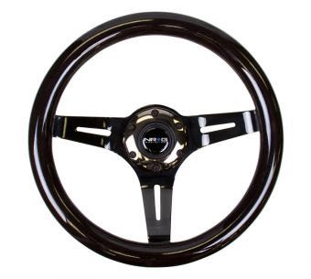 NRG Innovations Classic Black Wood Grain Wheel, 310mm, 3 spoke center in Black Chrome