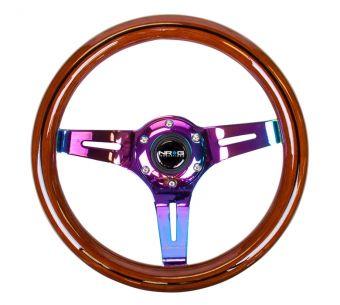 NRG Innovations Classic Dark Wood Grain Wheel, Black line inlay, 310mm, 3 spoke center in Neochrome